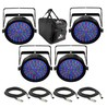 Chauvet SlimPAR 64 RGBA - 4 Pack with Free Bag and Cables
