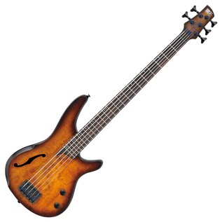 Ibanez SRH505 Semi-Hollow Bass Guitar, Dragon Eye Burst Flat