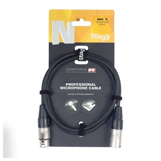 Stagg N-Series 3m Professional Microphone Cable, Black- Cable