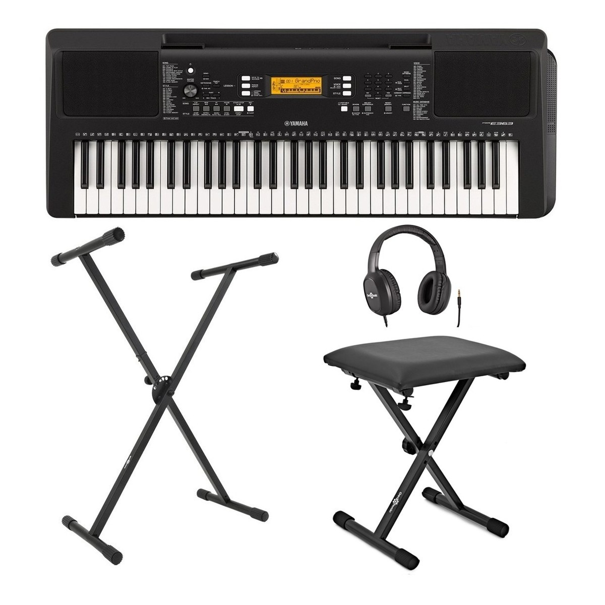 yamaha psr e363 portable keyboard with stand bench and. Black Bedroom Furniture Sets. Home Design Ideas