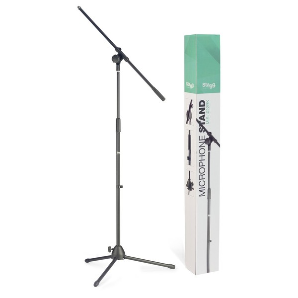 Stagg MIS-1022BK Microphone Boom Stand with Folding Legs - Stand & Box