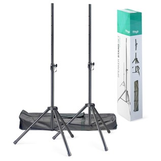 Stagg SPSQ10 Speaker Stand Set - High Quality Tripod Kit - Full Contents