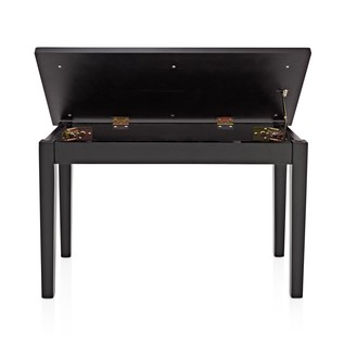 Duet Piano Stool with Storage by Gear4music, Matte Black