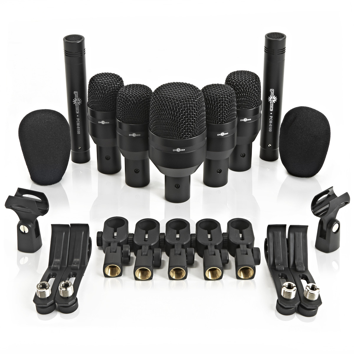 7 piece drum mic set with carry case by gear4music box opened at gear4music. Black Bedroom Furniture Sets. Home Design Ideas