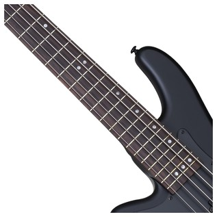 Stiletto Stealth-5 Left Handed Bass Guitar, Satin Black