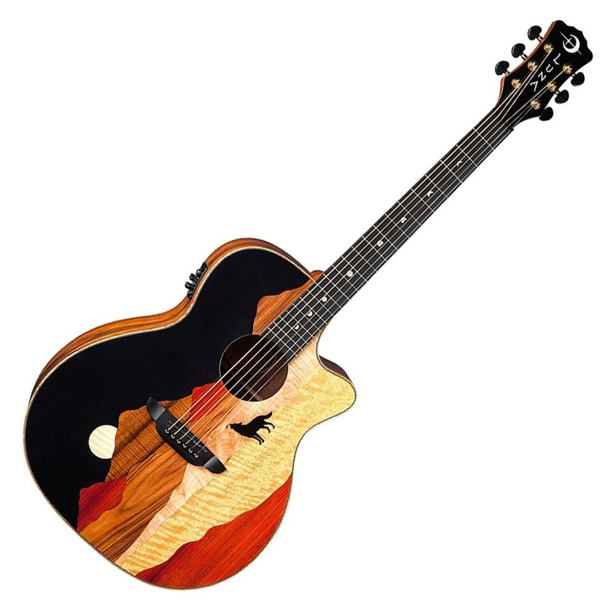 Disc Luna Vista Wolf Tropical Wood Electro Acoustic Guitar W Case