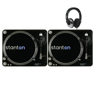 Stanton T.55 Belt-Drive USB Turntables (x2) With Free Headphones - Bundle