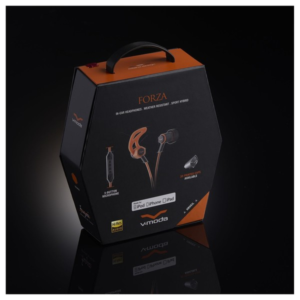 V-Moda Forza In-Ear Headphones, Orange - Boxed