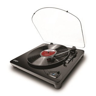 ION Audio Air LP, Bluetooth Turntable with USB Conversion, Black - Angled
