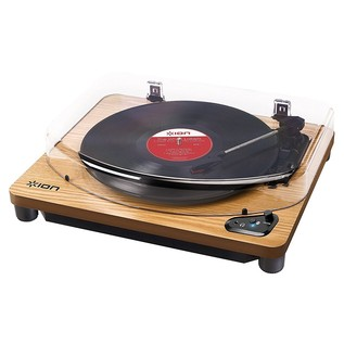 ION Audio Air LP, Bluetooth Turntable with USB Conversion, Wood - Angled