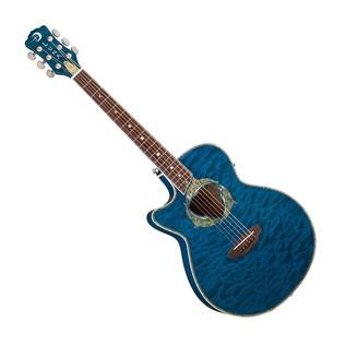 Luna Fauna Dolphin Electro Acoustic Guitar, Left Handed Trans Blue