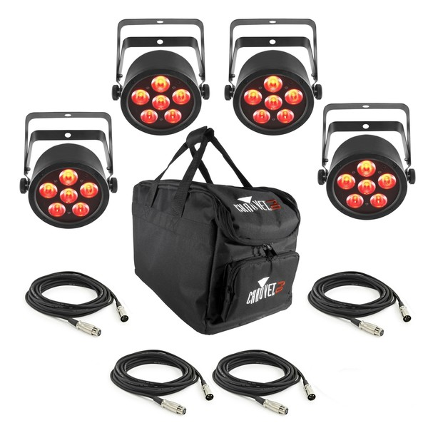 Chauvet SlimPAR T6 USB, 4 Pack with Bag and Cables