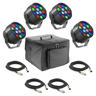 Stagg ECO PAR 12 x 1W LED, 4 Pack with Bag and Cables