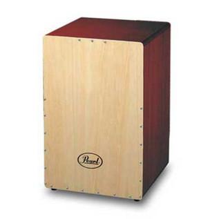Pearl Box Cajon Matte Wine Red w/Natural Front Plate, 31,5x31,5x50cm