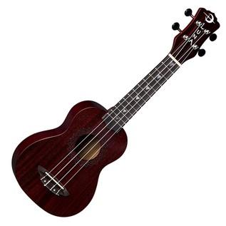 Luna Vintage Soprano Ukulele Red Satin Front