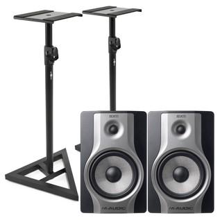 M-Audio BX8 Carbon Active Studio Monitor (Pair) With Stands - Bundle