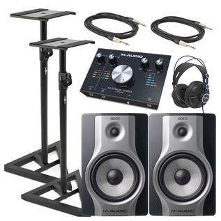 M-Audio BX8 Monitors, M-Track Interface, Cables & Stands Studio Pack - Bundle