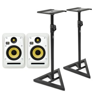 KRK V6S4 Studio Monitor, White (Pair) With Stands - Bundle