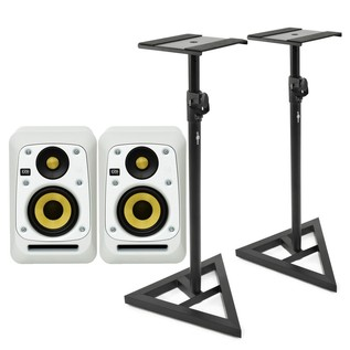 KRK V4S4 Studio Monitor, White (Pair) With Stands - Bundle