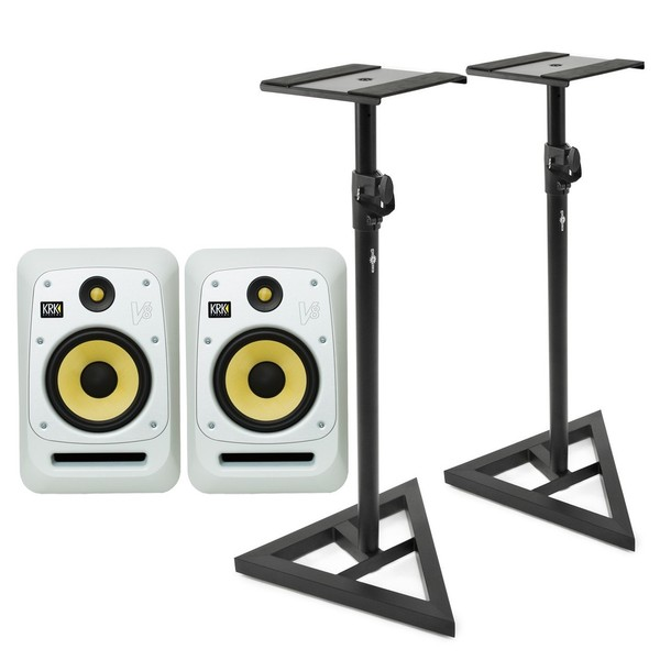KRK V8S4 Studio Monitor, White (Pair) With Stands - Bundle