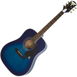 Epiphone Pro-1 PLUS Acoustic Guitar for Beginners, Trans Blue