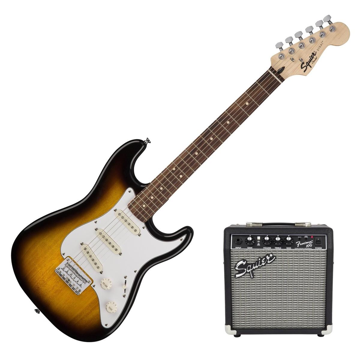 disc squier strat pack ss short scale electric guitar pack sunburst