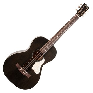 Art & Lutherie Roadhouse Parlour Acoustic Guitar, Faded Black Front