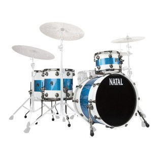 Natal Originals Maple 4pc Shell Pack, White Sparkle w/ Blue Inlay