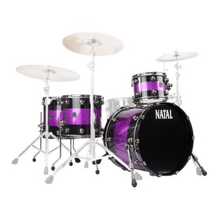 Natal Originals Maple 4pc Shell Pack, Black Sparkle w/ Pink Inlay