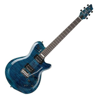 Godin LGXT AA 6-String Electric Guitar, Trans Blue Flame Top front