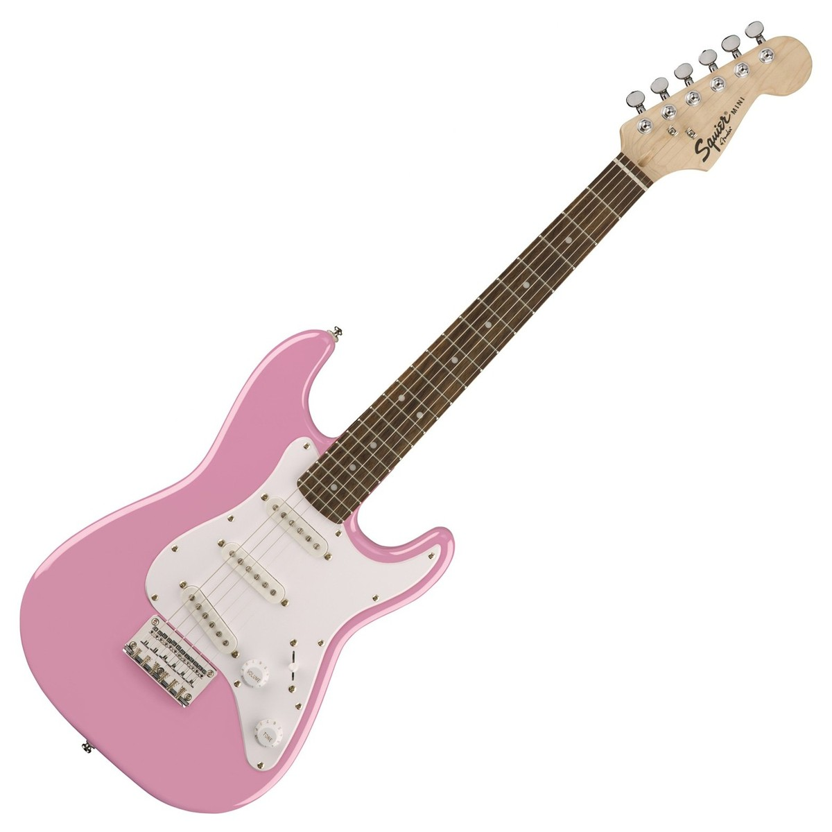 squier by fender par fender guitare lectrique de mini stratocaster 3 4 taille rose. Black Bedroom Furniture Sets. Home Design Ideas