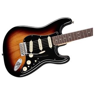 Fender Deluxe Stratocaster Electric Guitar, PF, 2-Color Sunburst front close up