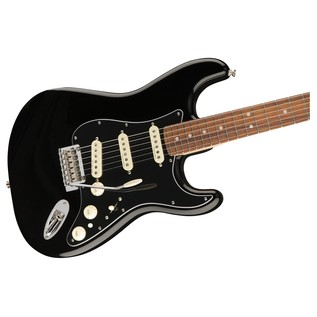 Fender Deluxe Stratocaster Electric Guitar, Pau Ferro, Black close up