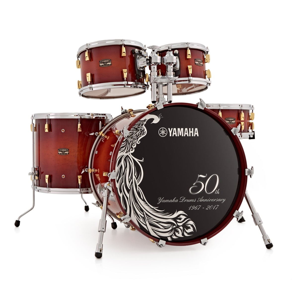 Yamaha Absolute Hybrid Maple 50th Anniversary Shell Pack, Sunburst ...
