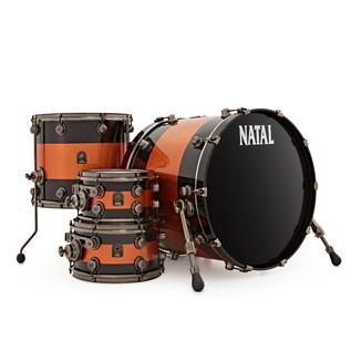 Natal Originals Maple 4pc Shell Pack, Black Sparkle w/ Orange Inlay