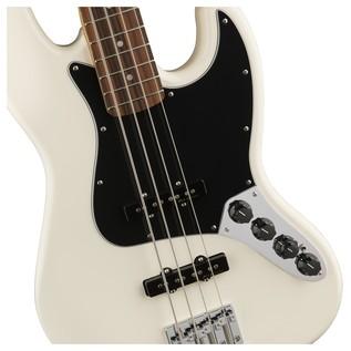 Fender Deluxe Active Jazz Bass Guitar, Pau Ferro, Olympic White Controls