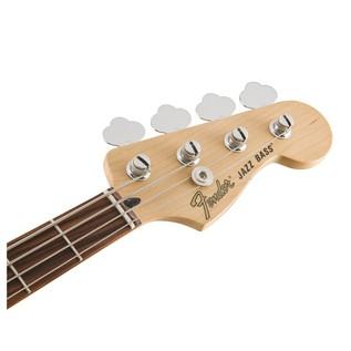 Fender Deluxe Active Jazz Bass Guitar, Pau Ferro, Olympic White Headstock