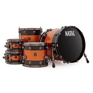 Natal Originals Maple 5pc Shell Pack, Black Sparkle w/ Orange Inlay