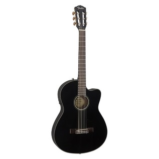 Fender CN-140SCE Acoustic Guitar, Black With Case Front