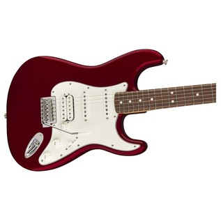 Fender Standard Stratocaster HSS Electric Guitar, PW, Candy Apple Red close up body
