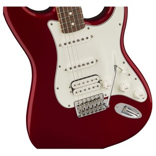 Fender Standard Stratocaster HSS Electric Guitar, PW, Candy Apple Red close up body front