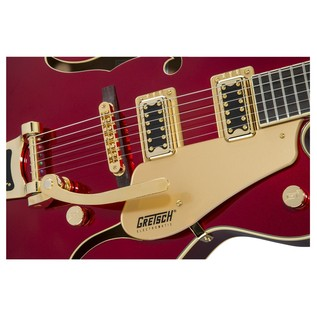 Gretsch Limited Edition Electromatic Hollow Body, Candy Apple Red close up bridge and pickups