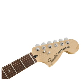 Fender Deluxe Stratocaster HSS Electric Guitar, PF, Candy Apple Red headstock