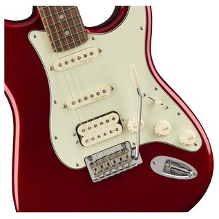 Fender Deluxe Stratocaster HSS Electric Guitar, PF, Candy Apple Red body close up