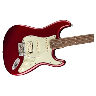 Fender Deluxe Stratocaster HSS Electric Guitar, PF, Candy Apple Red body and neck close up