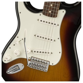 Fender Standard Stratocaster LH Electric Guitar, PW, Brown Sunburst Controls