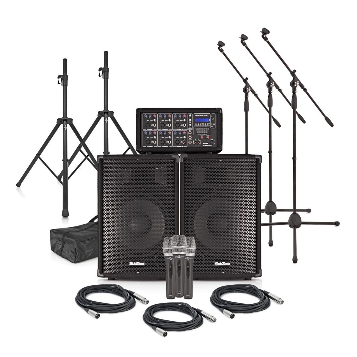 SubZero SZPA-612 250W 12'' PA System with Microphones and Stands