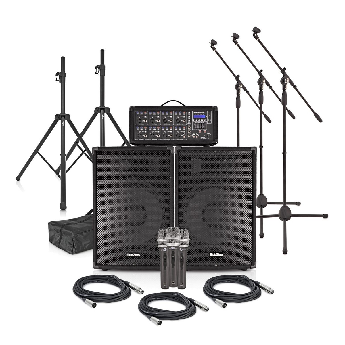 SubZero SZPA-815 300W 15'' PA System with Microphones and Stands