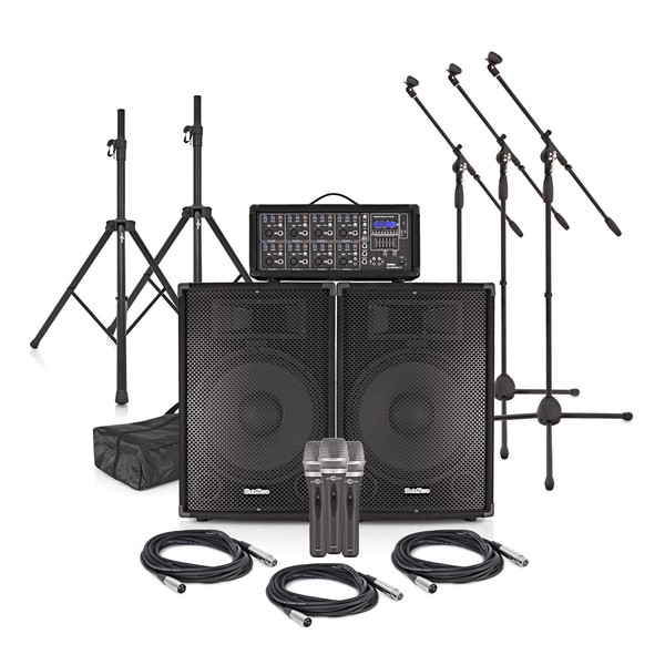 SubZero szpa-815 300W PA System with Microphones and Stands