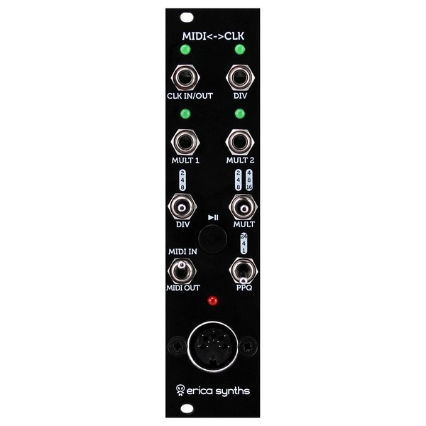 Erica Synths MIDI to Clock Module V2 - Front